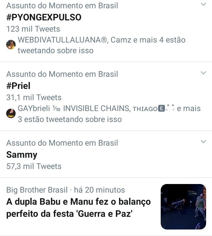 A hashtag #Priel entre as mais comentadas do país (Foto: reprodução)