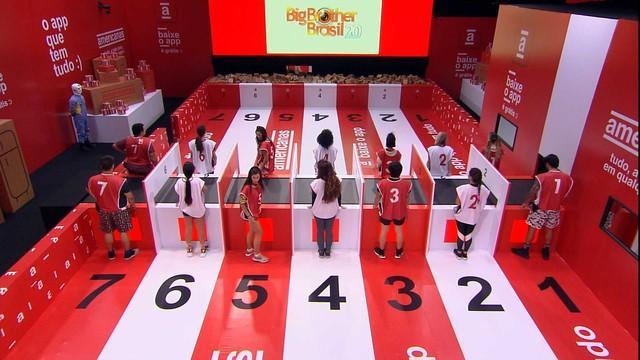 Prova do Líder no BBB20 foi disputada entre 7 duplas (Foto: Reprodução)
