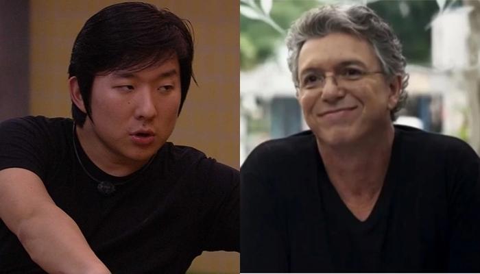 Pyong Lee e Boninho, o chefão do BBB20; brother fez deboche após decisão do diretor da Globo (Foto: Reprodução/Globo/Montagem TV Foco)