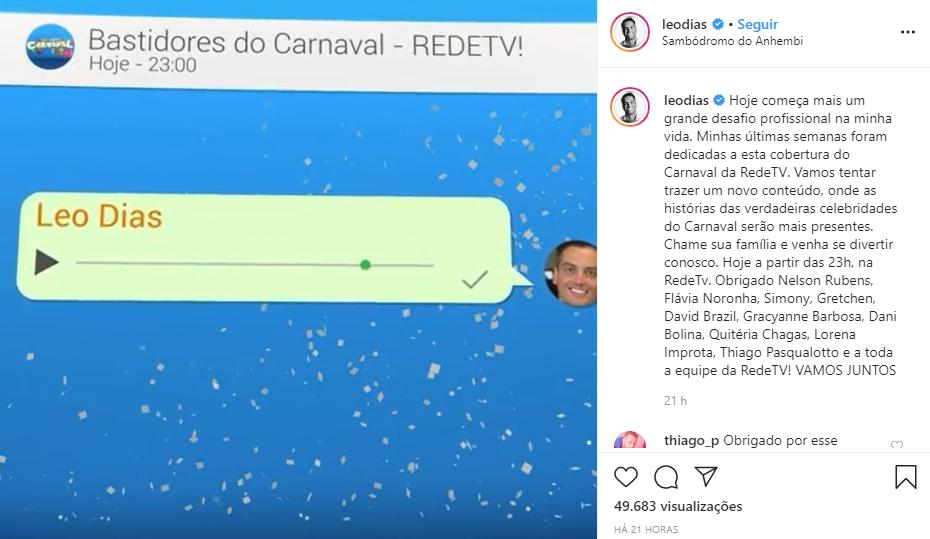 Leo Dias fala sobre experiência em ser o mais novo âncora do programa Bastidores do Carnaval exibido pela RedeTV (Foto: Reprodução/Instagram)