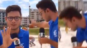 Repórter da Globo Rio, Paulo Henrique Cardoso foi atacado por um grupo de Homens-Aranha (Foto: Reprodução/TV Globo)
