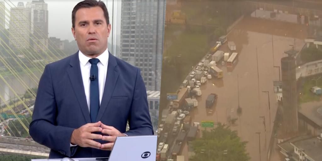 Rodrigo Bocardi fez cobertura ao vivo na Globo sobre São Paulo completamente afundada pela água (Foto reprodução)