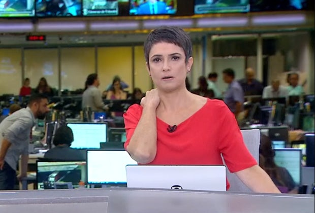 Sandra Annenberg na época em que comandava o Jornal Hoje na Globo (Imagem: Reprodução)