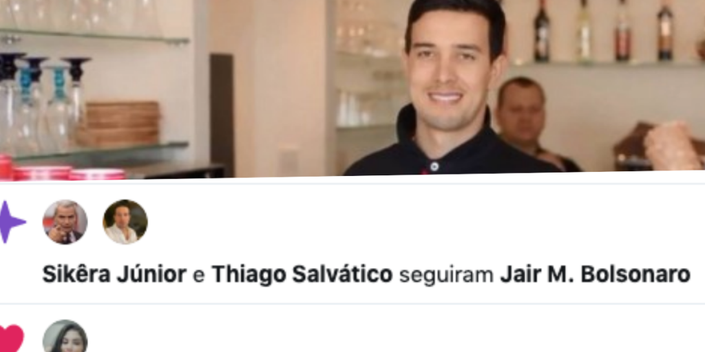 Thiago Salvático, tido como suposto namorado de Gugu, foi flagrado seguindo o Presidente Jair Bolsonaro (Foto reprodução)