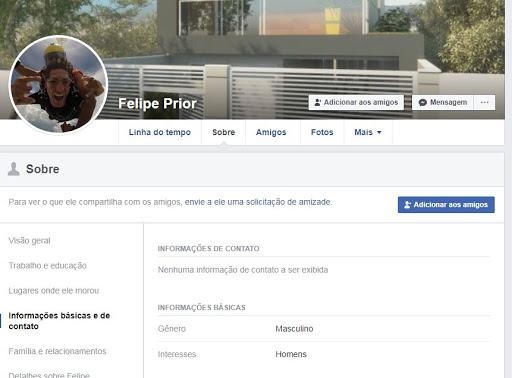 O Facebook de Felipe mostra que ele tem interesse em homens. (Foto: reprodução)