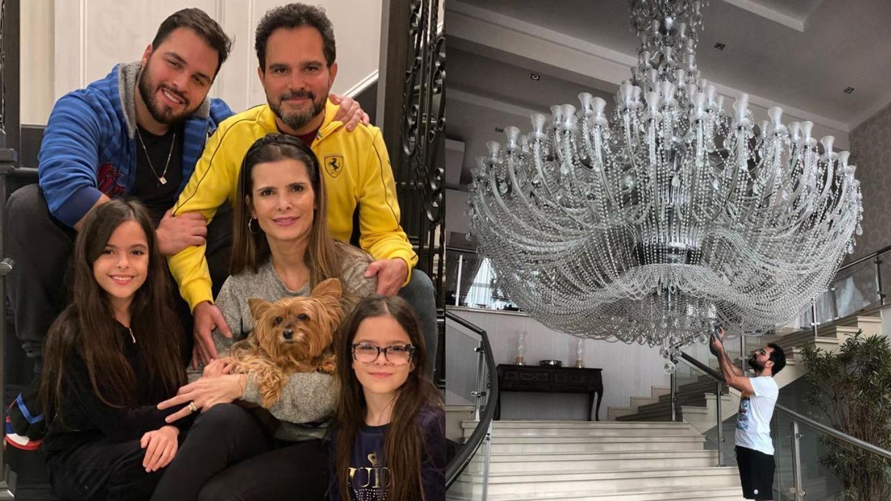 Luciano Camargo com Flávia Camargo e seus filhos (Foto: Reprodução/Instagram/Montagem TV Foco) Zezé