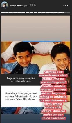Wesley Camargo disse que mantém boa relação com Talita, filha adotiva de Luciano Camargo (Reprodução)