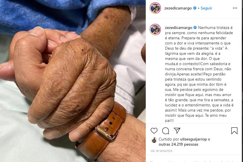 Zezé Di Camargo confirmou a informação sobre o estado de saúde de seu pai, Francisco (Foto: Reprodução)