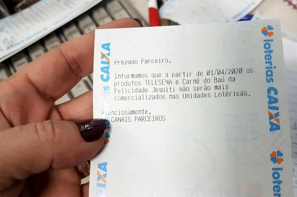 Comunicado enviado para as Loterias Caixa informa o fim da Tele Sena (foto: reprodução/BNL)