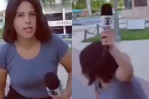 Jornalista da Globo Nordeste levou tombo ao vivo na TV (Foto: Montagem)