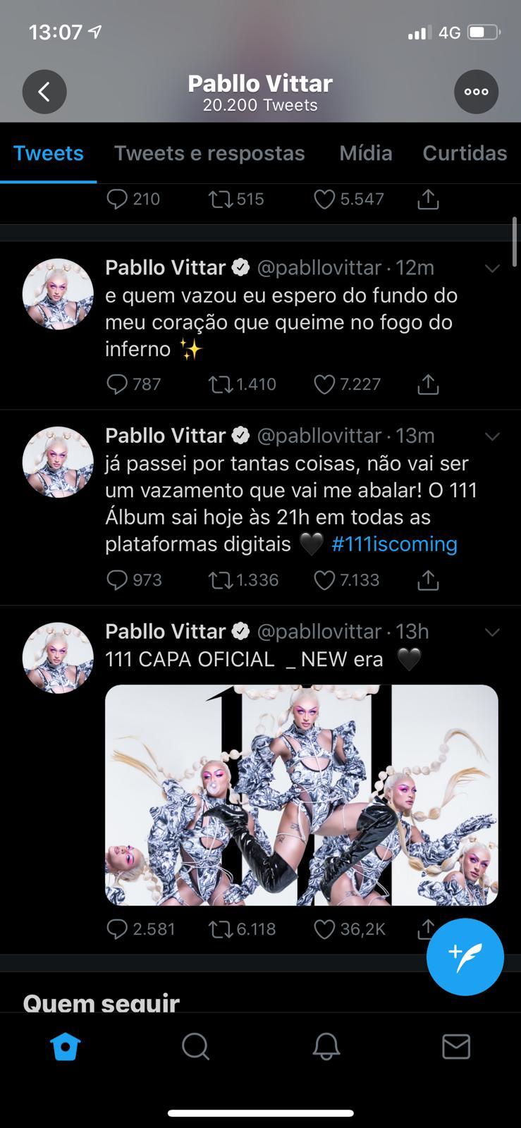 Pabllo Vittar mandou papo reto para quem vazou suas músicas (Foto: Reprodução/Twitter) 111