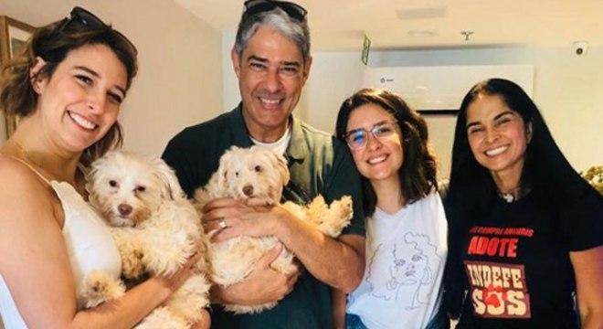 Natasha Dantas e William Bonner com os seus novos cachorrinhos (Foto: Reprodução)