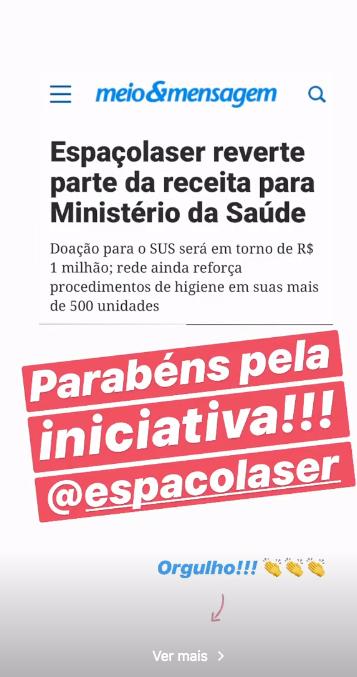 Storie de Xuxa parabenizando a atitude da Espaçolaser (Foto: Reprodução)