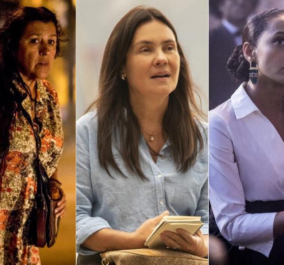 Regina Casé (Lurdes), Adriana Esteves (Thelma) e Taís Araújo (Vitória) são as protagonistas de Amor de Mãe (Foto: Globo/João Cotta/Montagem)