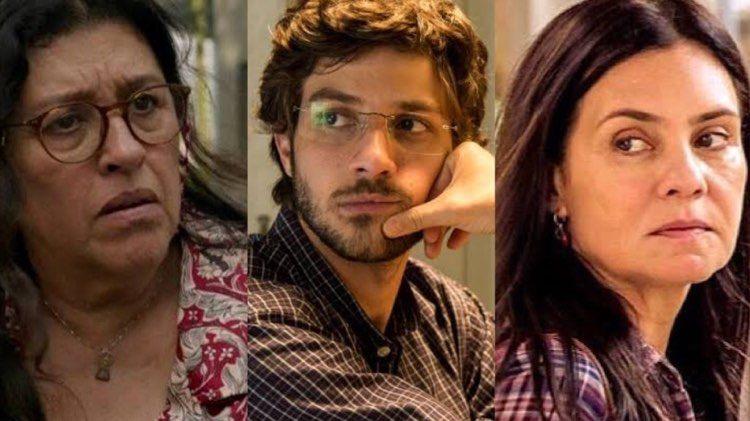 Regina Casé, Chay Suede e Adriana Esteves em Amor de Mãe (Foto: Reprodução/Globo/Montagem TV Foco)
