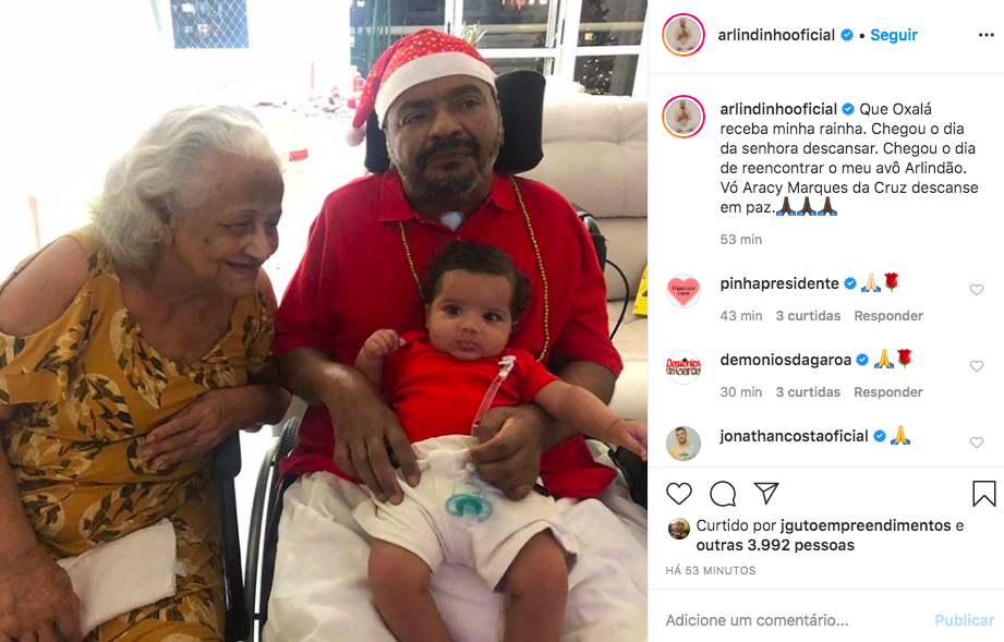 O filho mais velho de Arlindo Cruz, Arlindinho falou sobre a morte de sua avó nas redes sociais (Foto: Reprodução/Instagram)