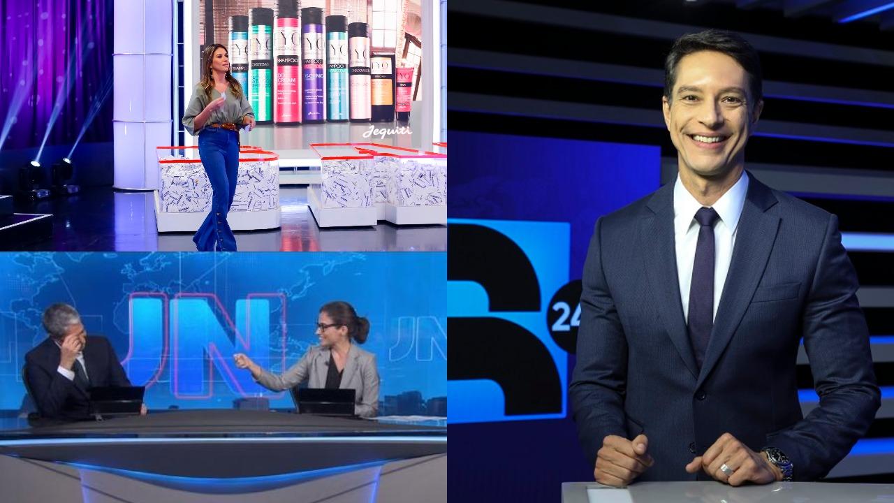 Jornal da Record, Jornal Nacional e Roda a Roda Jequiti foram destaques de audiência (Foto: Reprodução/Record/TV Globo/SBT/Montagem TV Foco)