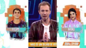 Tiago Leifert entra ao vivo na Globo para anunciar paredão com votação record (Montagem: TV Foco)