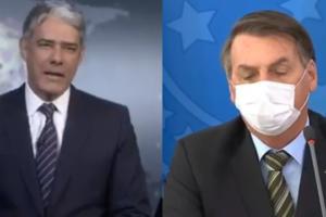 William Bonner debocha de uso de máscara por Bolsonaro (Foto: Montagem / Reprodução)