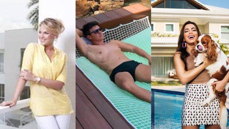 Mansões onde Ana Hickmann, Rodrigo Faro e Anitta passarão a quarentena (Montagem: TV Foco)