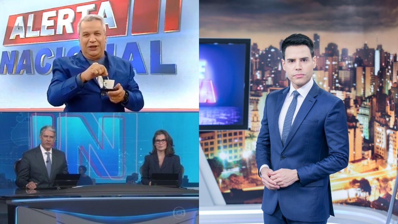 Alerta Nacional, Jornal Nacional e Cidade Alerta foram destaques de audiência (Foto: Reprodução/RedeTV!/Globo/Record/Montagem TV Foco)