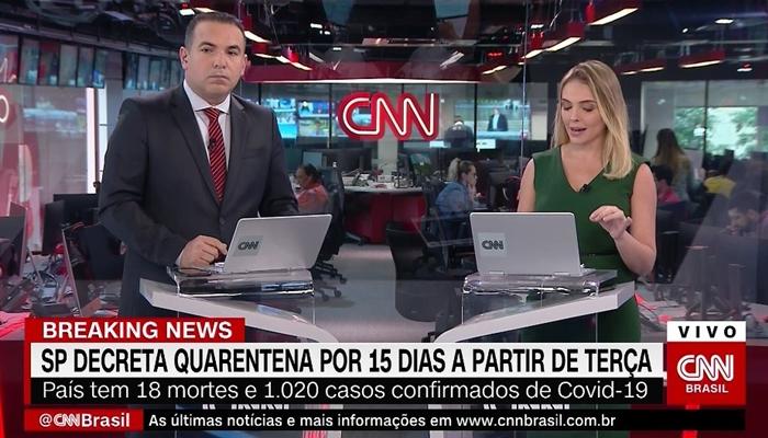 Os apresentadores Reinaldo Gottino e Taís Lopes no comando de plantão sobre coronavírus, que teve ótima audiência (Foto: Reprodução/CNN Brasil)