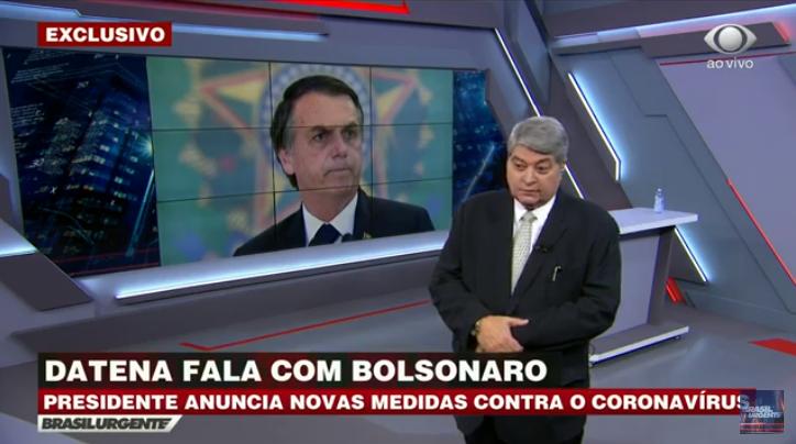 Datena entrevistou Jair Bolsonaro no Brasil Urgente (Foto: Reprodução)