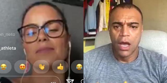 Denílson e esposa fazem live no Instagram (Foto: Reprodução)