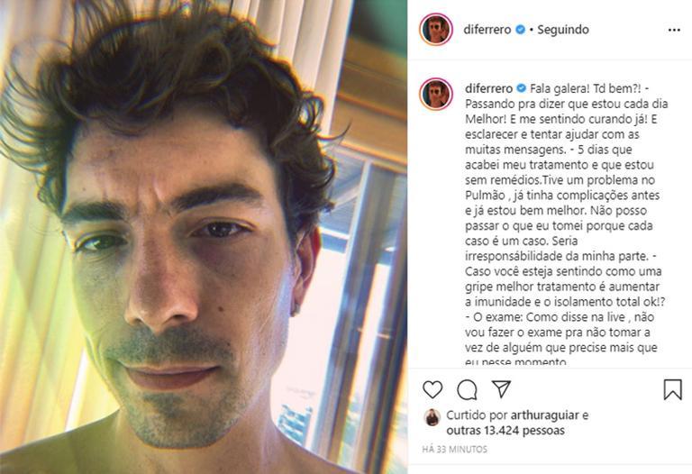 Di Ferrero conta que teve complicação no pulmão após coronavírus - (Foto: Reprodução)