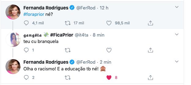 bbb globo Fernanda Rodrigues rebateu internauta que a atacou (Reprodução)