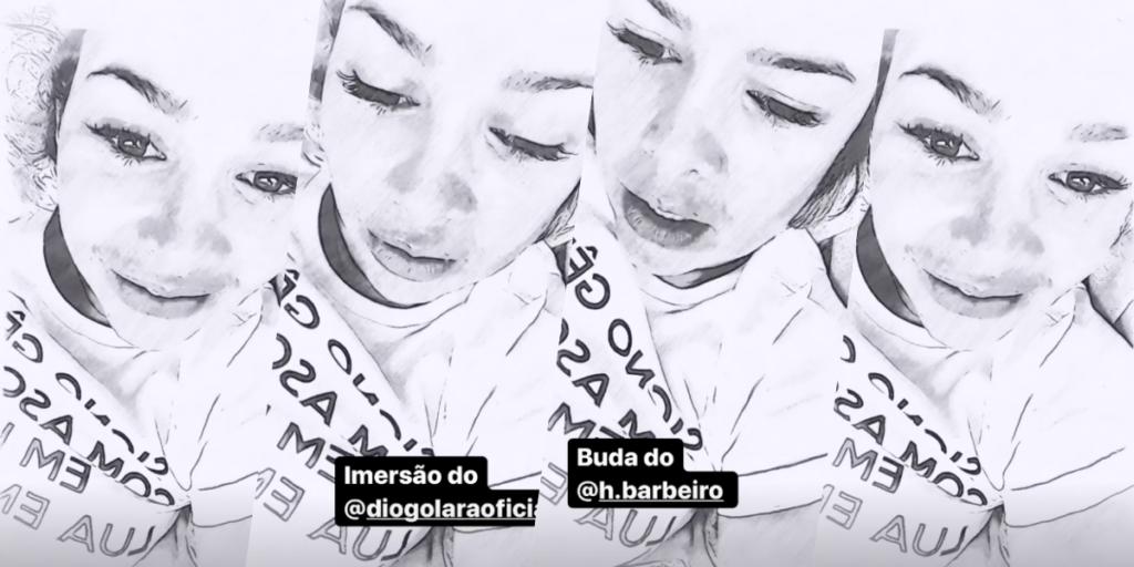 Fernanda Souza surgiu no seu Instagram usando filtro e segundo alguns parecia triste (Foto montagem: TV Foco)
