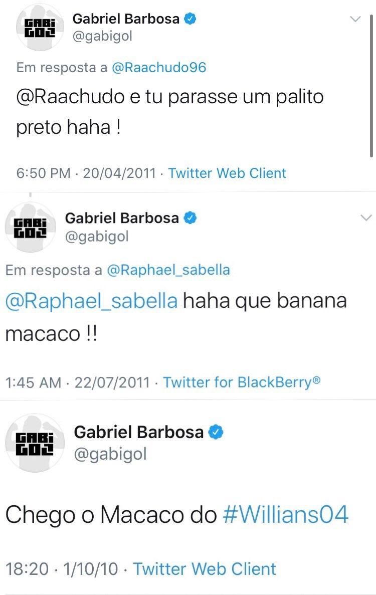 Tuítes antigos onde Gabigol é racista (Foto: reprodução/Twitter)