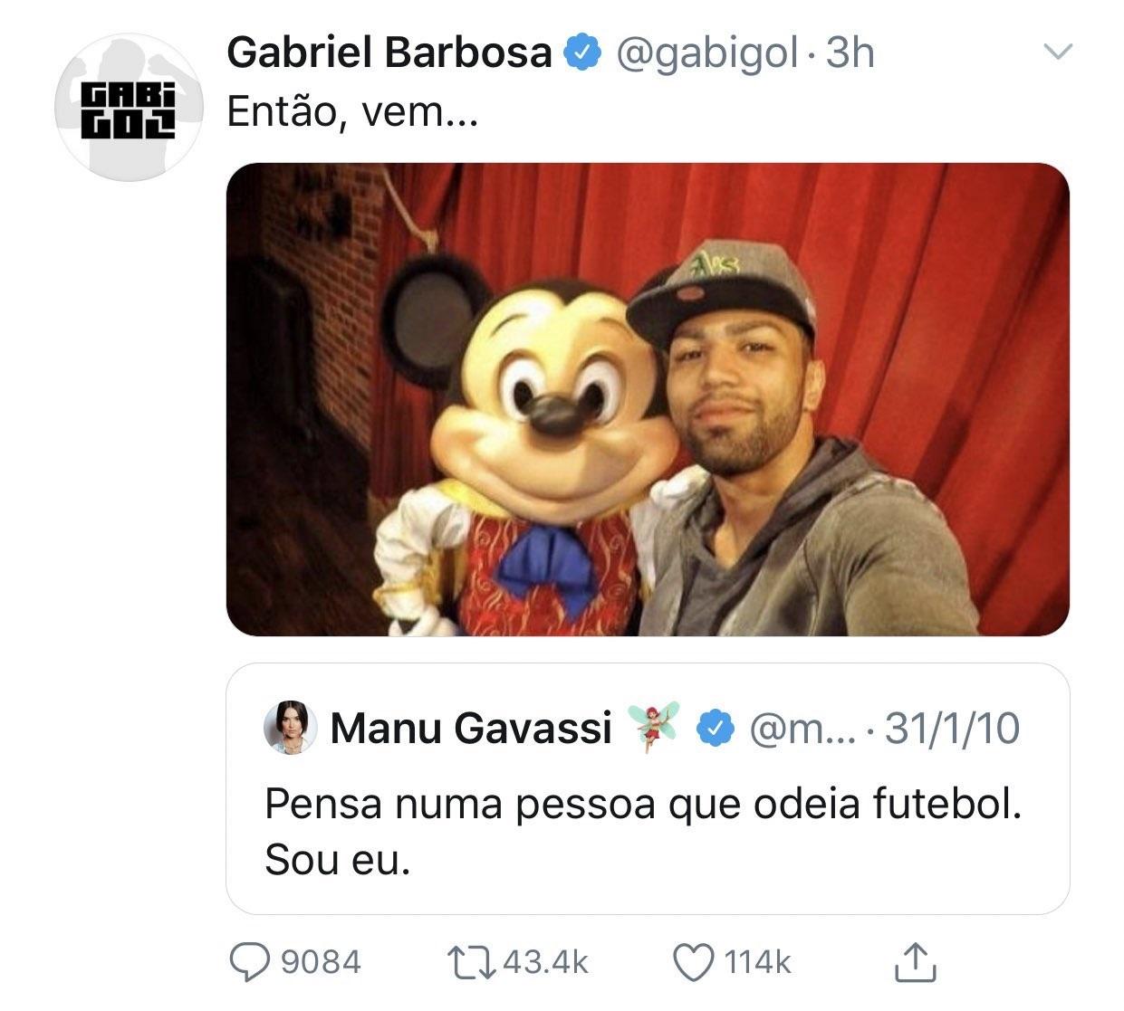 Gabigol utiliza tuíte antigo para atacar Manu (Foto: reprodução/Twitter)