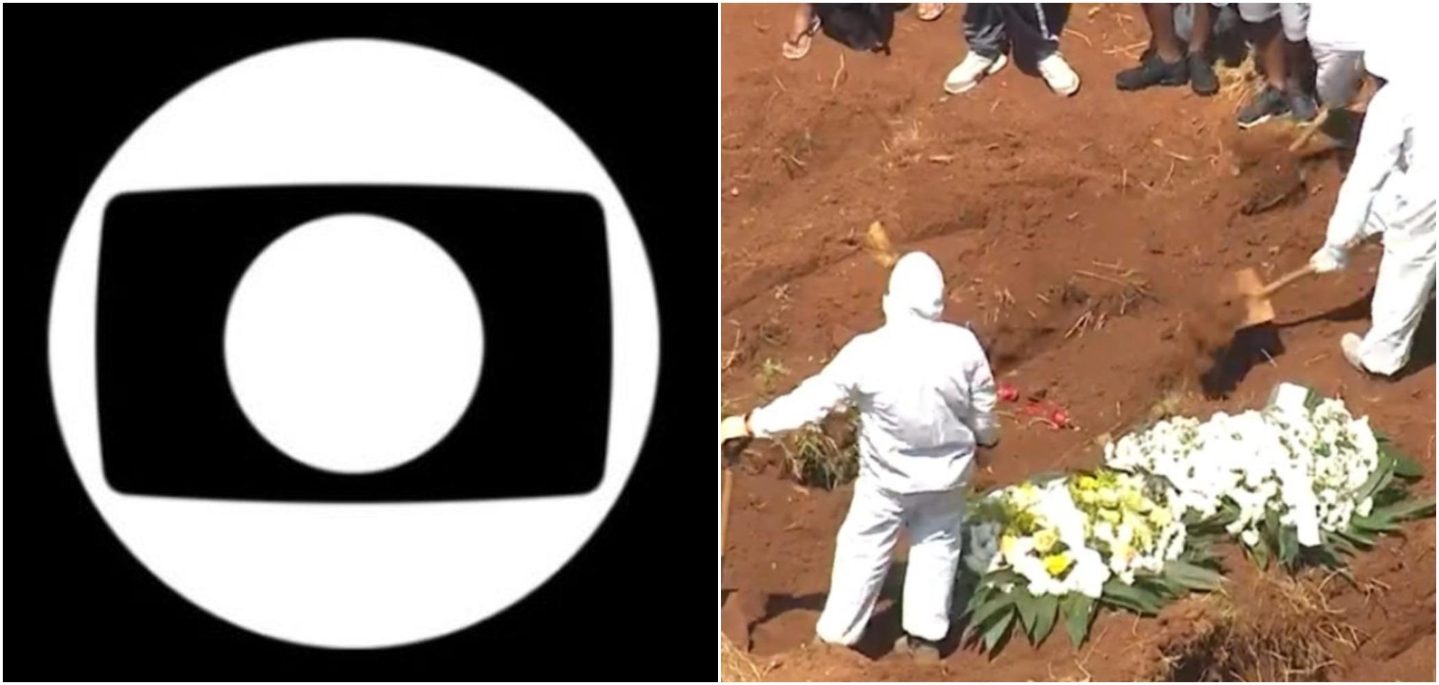 Globo exibiu cenas de enterros de vítimas de coronavírus em SP (Reprodução)