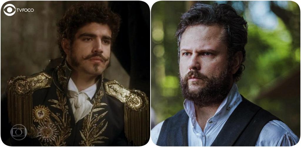 Caio Castro como Dom Pedro de Novo Mundo em paralelo com Selton Mello como Dom Pedro II da novela Nos Tempos do Imperador