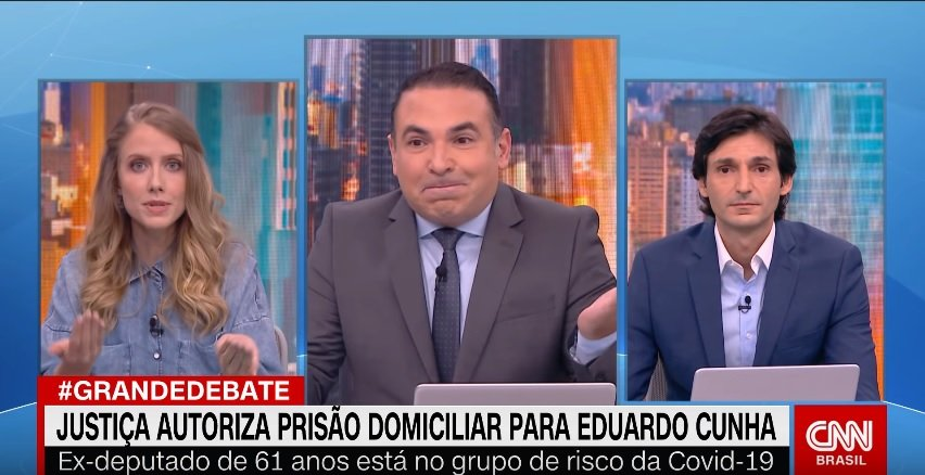 Gabriela Prioli, Reinaldo Gottino e Tomé Abduch no quadro Grande Debate (Foto: Reprodução/CNN Brasil)