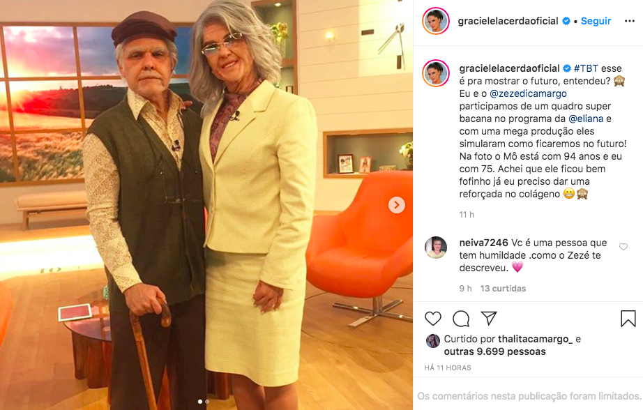 Graciele Lacerda lembra momento marcante ao lado do cantor sertanejo Zezé Di Camargo, quando os dois participaram de um quadro especial no Programa da Elina no SBT - Foto: Reprodução/Instagram)