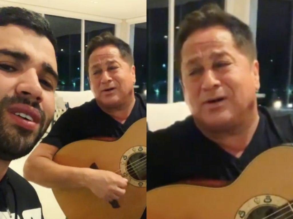 O famoso cantor sertanejo, Gusttavo Lima se tornou um dos principais assuntos na internet após compartilhar um vídeo cantando ao lado de Leonardo nas redes sociais (Foto: Reprodução/Instagram/Montagem TV Foco)