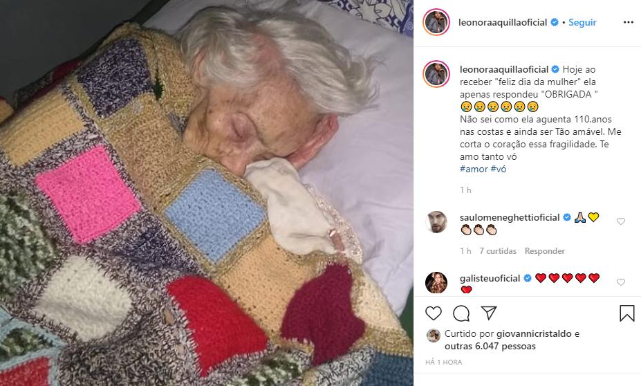 Léo Áquila resolveu exibir sua vó de 110 anos (Foto: Reprodução/ Instagram)