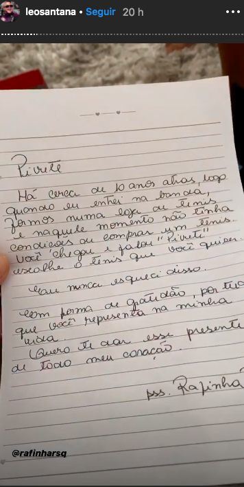 O famoso baiano e cantor de axé agitou a internet ao expor a carta pessoal que recebeu de um companheiro (Foto: Reprodução/Instagram)