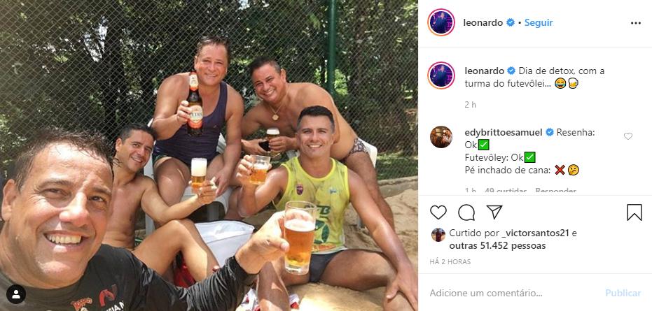 Leonardo expôs o quanto é viciado em bebidas alcoólicas e foi alertado pelos fãs (Foto: Reprodução/ Instagram)