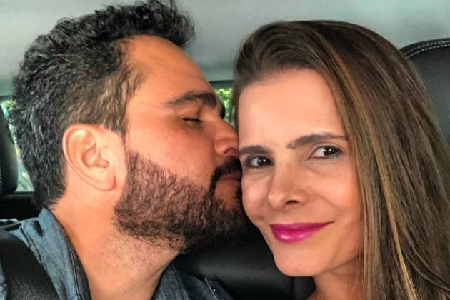 O irmão de Zezé, Luciano Camargo e sua esposa, Flávia Camargo (Reprodução)