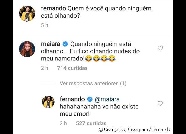 Maiara revelou em rede social que gosta de olhar os nudes de Fernando (Foto: Reprodução/ Instagram)