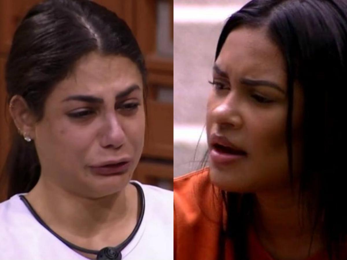 BBB20: Mari e Flayslane tem discussão acalorada no reality show da Globo após cantora defender Prior (Foto: Reprodução/Montagem TV Foco)