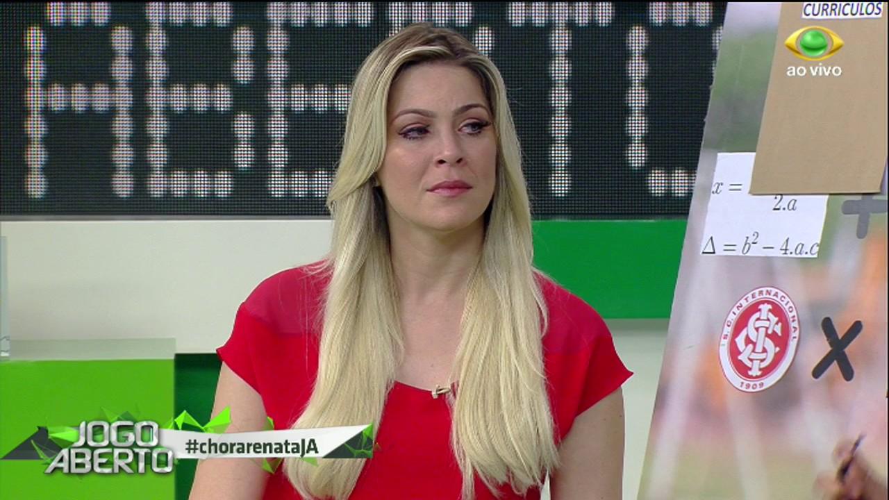 Renata Fan levou uma rasteira (Foto: Reprodução)