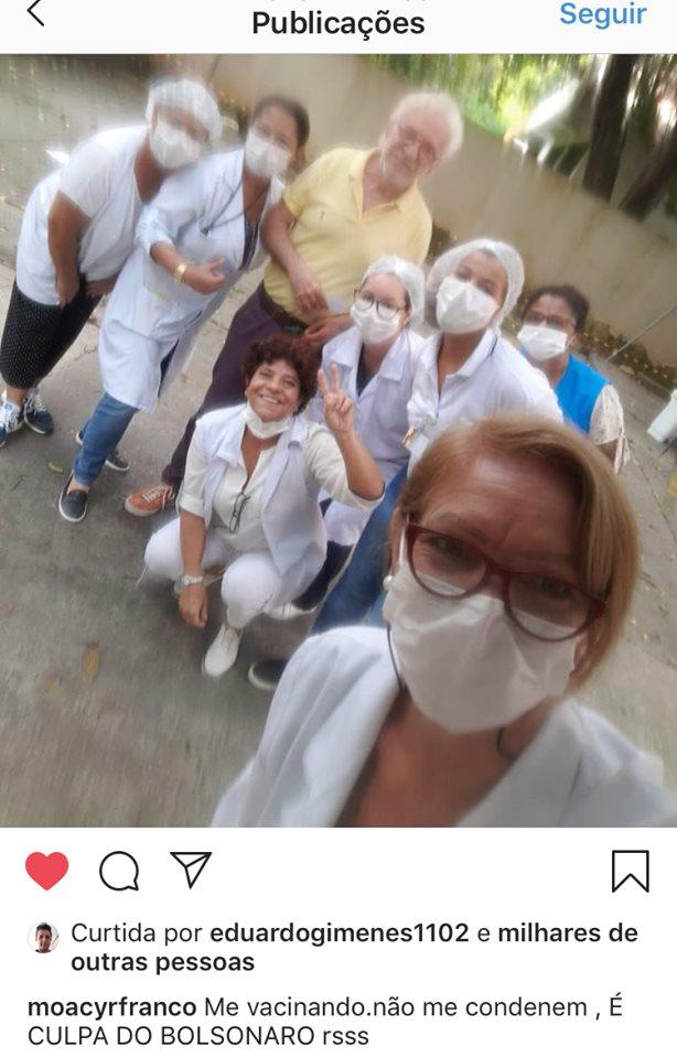 Moacyr Franco vai tomar vacina contra gripe e faz registro com equipe (Imagem: Instagram)