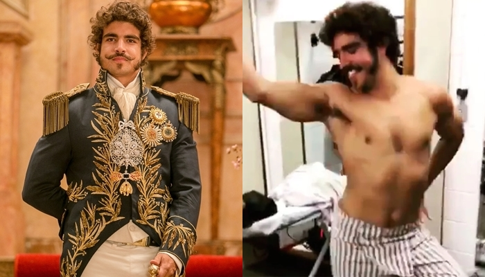 Caio Castro como Dom Pedro I em Novo Mundo e nos bastidores da novela (Foto: Globo/Raquel Cunha/Reprodução/Montagem TV Foco)