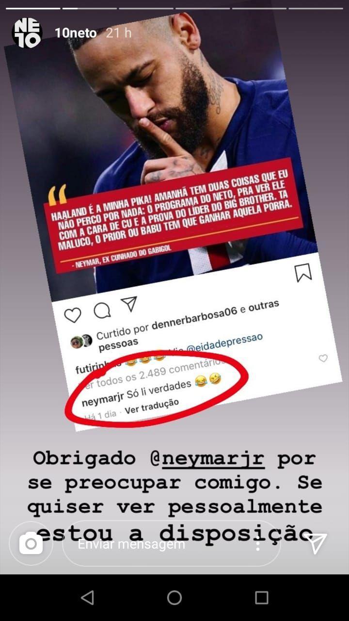 Neymar briga com Neto (Foto: Instagram)