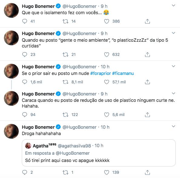 Primo de William Bonner promete compartilhar foto pelado de Felipe Prior sair (Foto: Reprodução/Twitter)