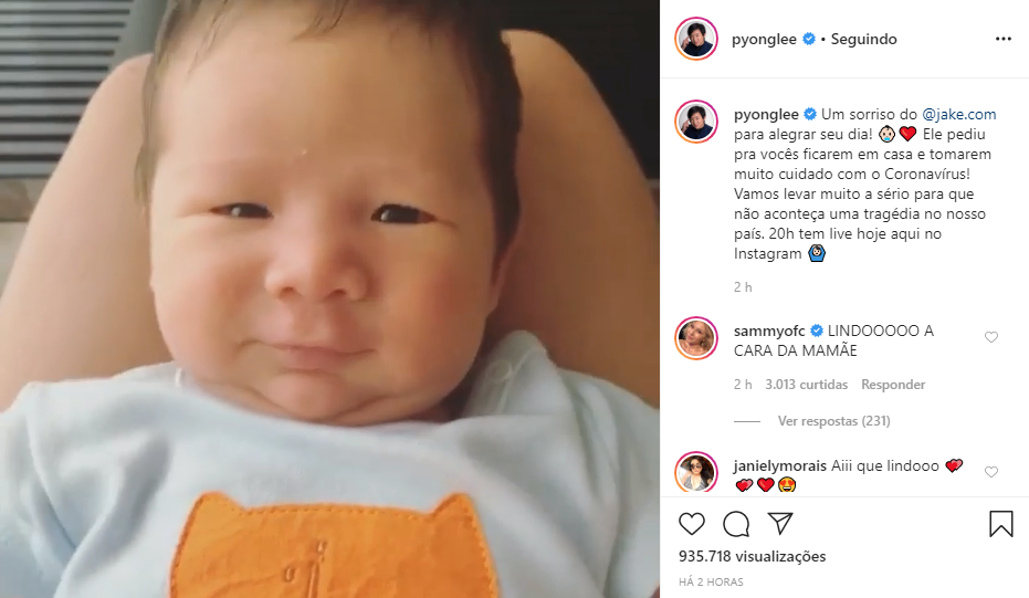 Ex participante do BBB 20, Pyong Lee, publica vídeo de filho e emociona fãs (Foto: Reprodução/Instagram)